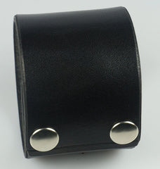 "Plain black leather wristband, 2"" wide"