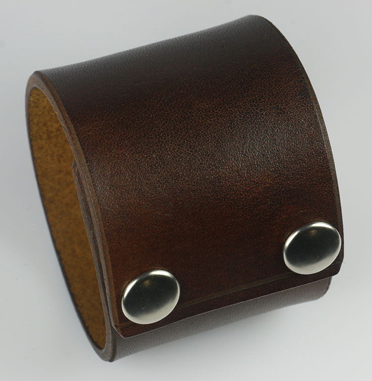 "Plain Brown 2"" Wide Leather Wristband"