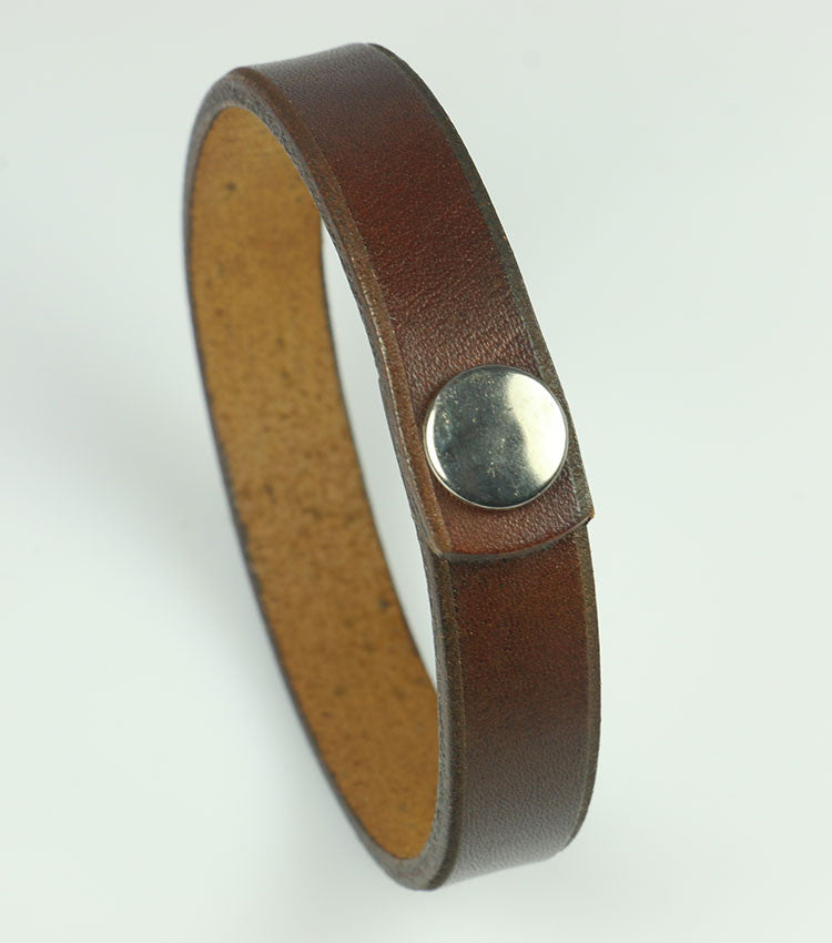 "1/2"" Wide Brown Leather Bracelet"