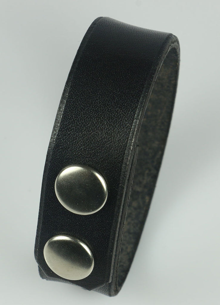 "3/4"" Wide Black Leather Bracelet"
