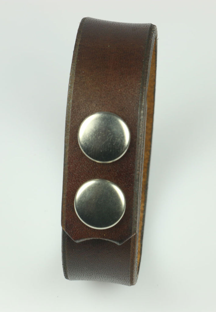 "3/4"" Wide Brown Leather Bracelet"