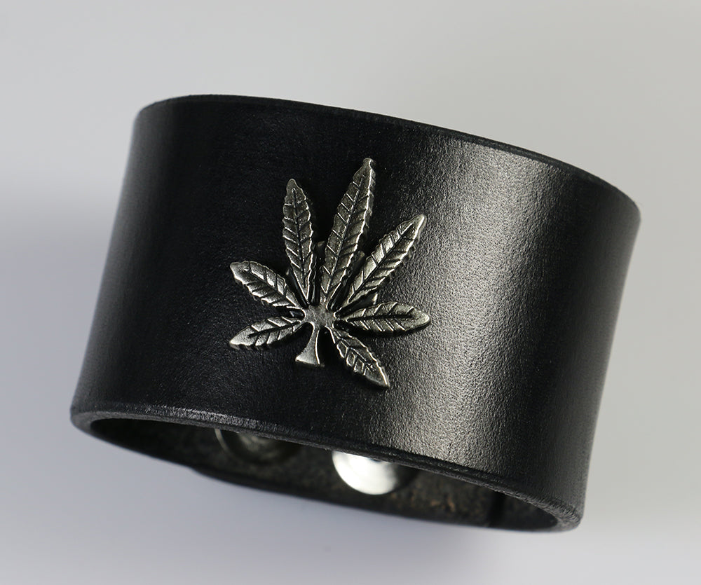 Cannabis Leaf Leather Wristband