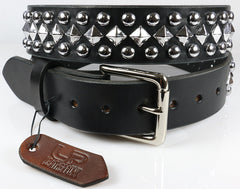 Pyramid and Dome Studded Leather Belt