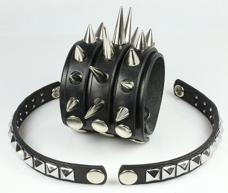 Spiked and Studded Wristband With Spike Strips