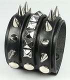 Spiked Leather Wristband / pyramids and half inch cone spikes