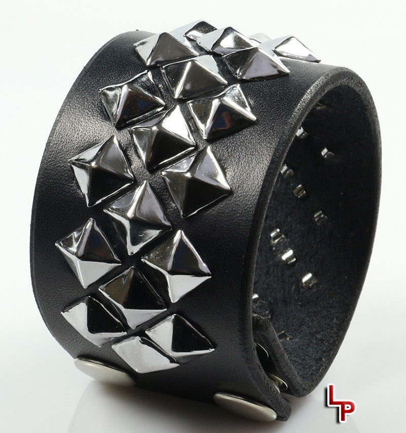 Diagonal Pyramid Studded Wristband, Black Leather