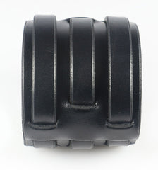 Triple Weave Leather Wristband, Black