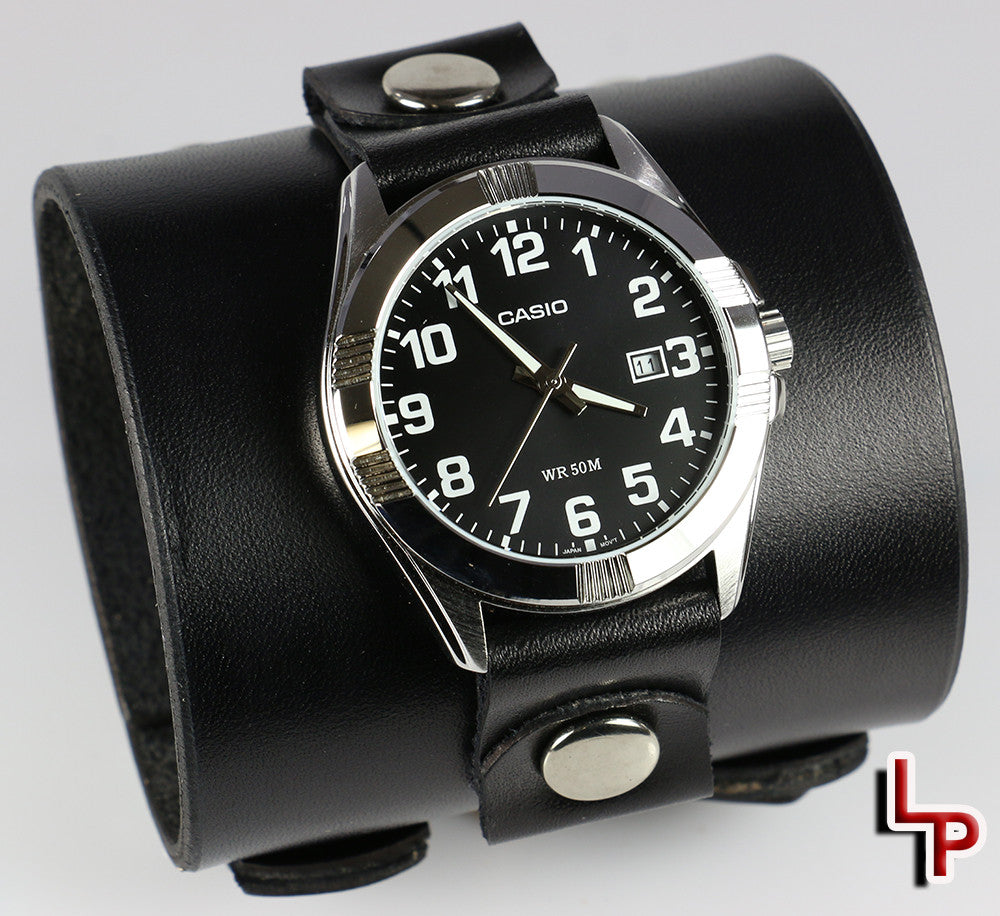 "Men's 3"" Wide Black Leather Watch Cuff"