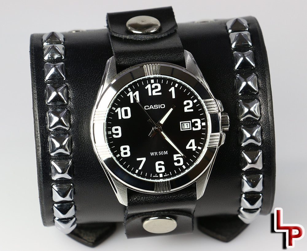 "3"" Pyramid Studded Watch Cuff, Black Leather"