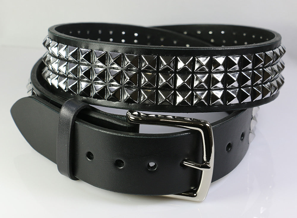 Wide three row pyramid studded leather belt, 1.75""