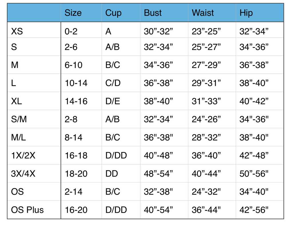 Dreamgirl Lingerie Size Chart