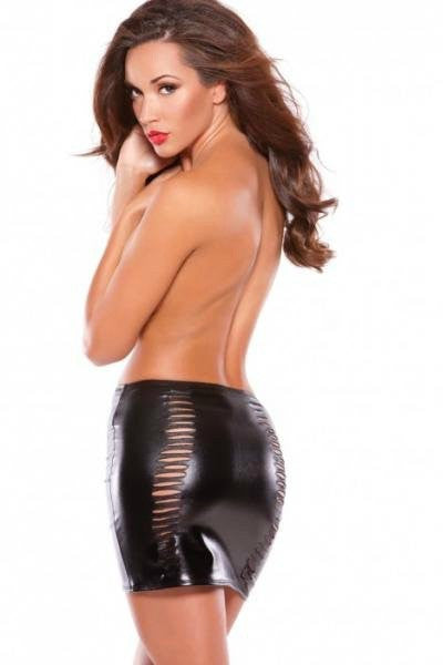 AK13-1082 Allure Black Vinyl Slashed Mini Skirt