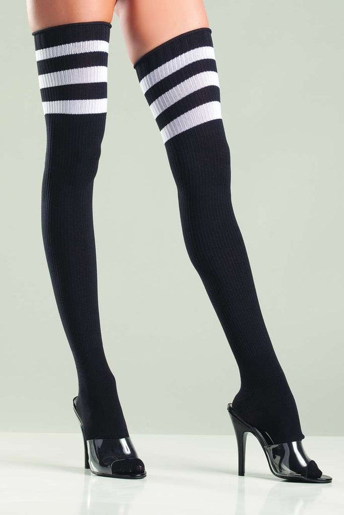 Black and Pink Athletic Ribbed Thigh High Socks