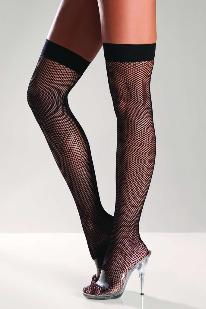Black Fishnet Thigh High Stocking with Back Seam