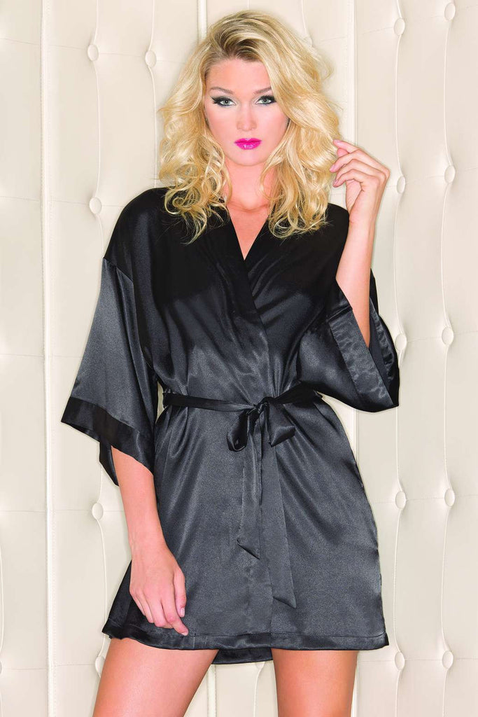 BW1525 Be Wicked Black Satin Robe