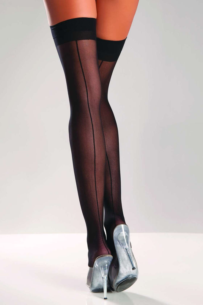 BW561 Be Wicked Black Thigh High Stocking With Back Seam