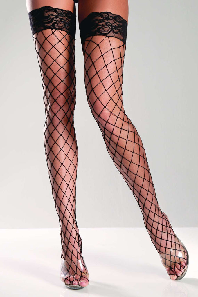 BW617 Be Wicked Black Fence Net Thigh High Stockings