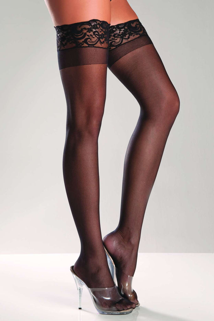 BW563 Be Wicked Sheer Stay Up Thigh High Stockings
