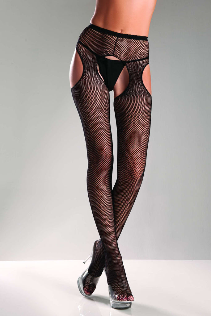 BW565 Be Wicked Fishnet Suspender Pantyhose