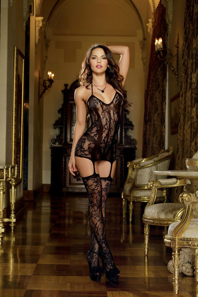 BD0145 Dreamgirl Black Lace Dress with Attached Garter Stockings