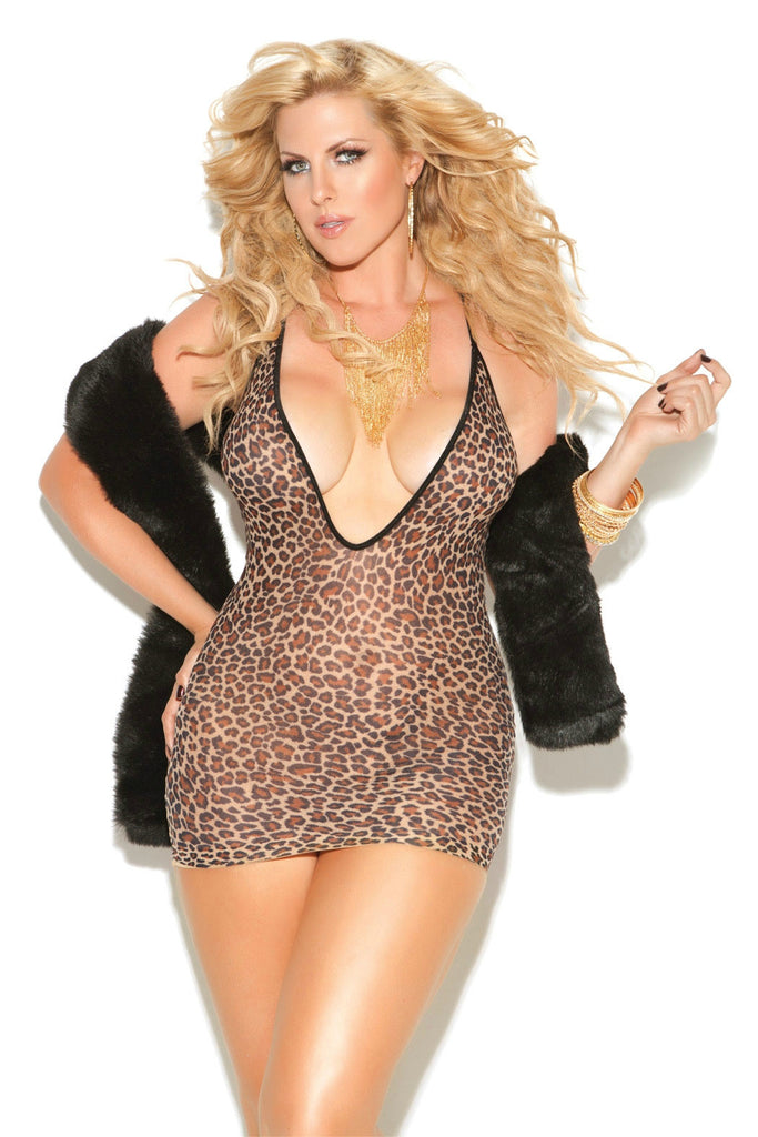 EMV8512 Elegant Moments Leopard Print Mini Dress With Deep V Neckline