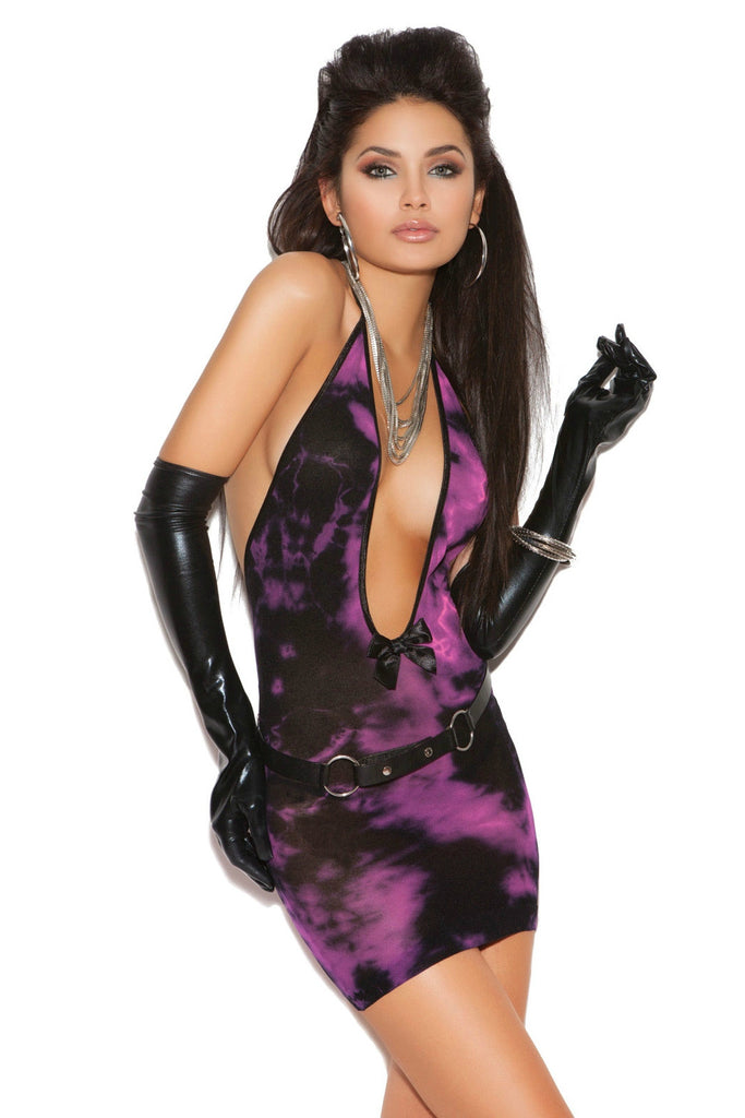 EMV8695 Elegant Moments Purple Pink Tye Dye Deep V Dress