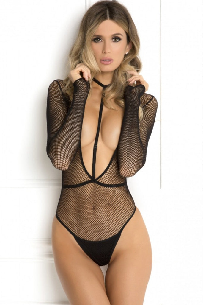 Fishnet Bodysuit with Harness choker
