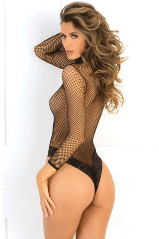 High Neck Fishnet Bodysuit