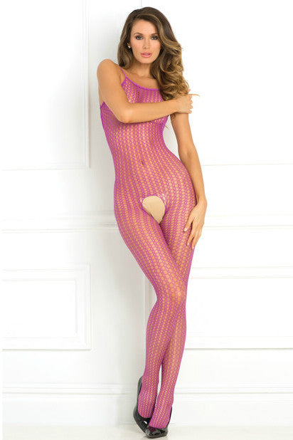 RR7004 Rene Rofe Purple Crochet Net Body Stocking