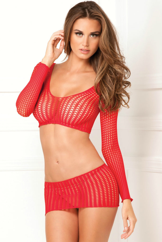 Crochet Half Top and Skirt Body Stocking