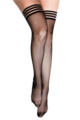 Kix'ies Black Fishnet Thigh Highs