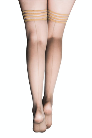 Kix'ies Champagne Thigh Highs With Seam