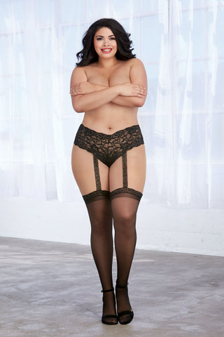 Plus Size Lace Panty With Thigh Highs