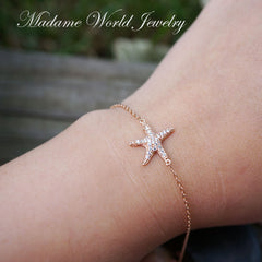 Pave Clear Cubic Zirconia Starfish Bracelet, Summer Wedding Bridesmaid Gift
