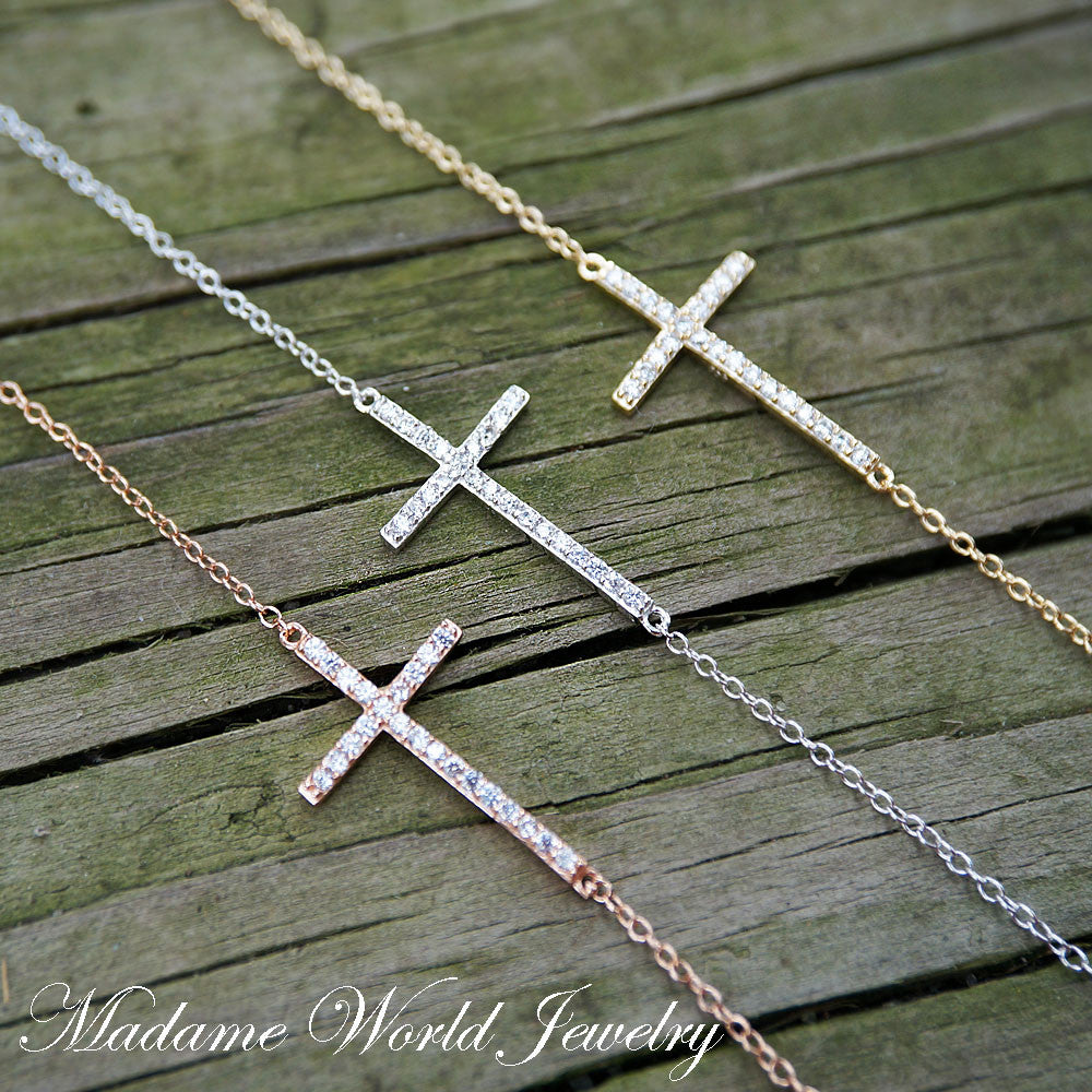 Clear CZ Cross Bracelet