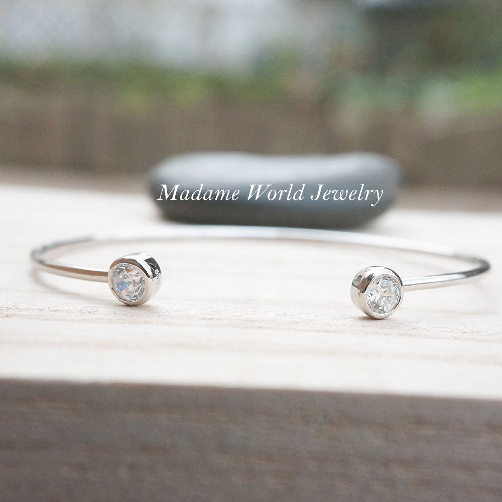 Clear Cubic Zirconia Bezel Set Open Bangle