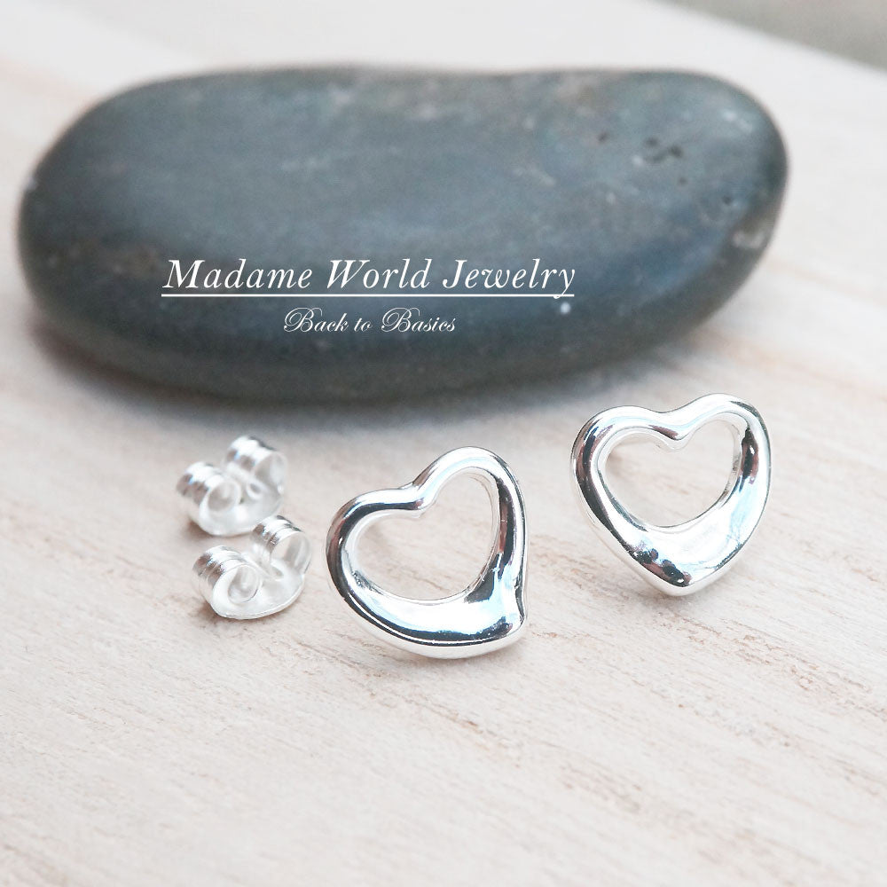 Plain Open Hearts Stud Earrings