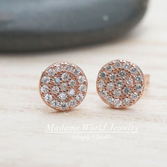 Pave Clear Cubic Zirconia Circle Stud Earrings