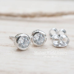 Clear Cubic Zirconia Bezel Set Stud Earrings