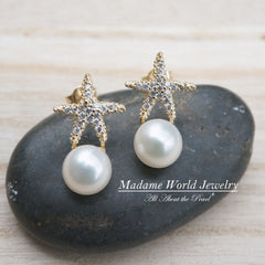 Freshwater Pearl Clear Cubic Zirconia Starfish Earrings