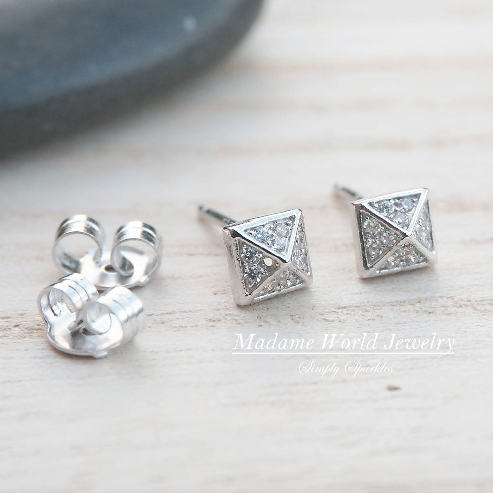 Clear CZ Spiky Stud Earrings (Triangle/Square)