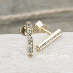 Clear Cubic Zirconia Vertical Bar Stud Earrings
