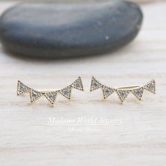 Mini Spikes Cubic Zirconia Ear Climber