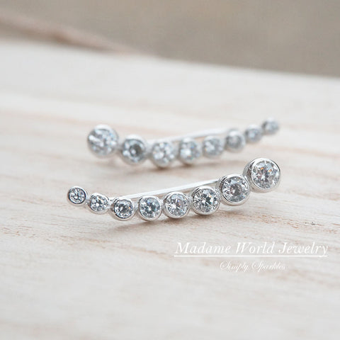 Clear Cubic Zirconia Bezel Set Ear Climber