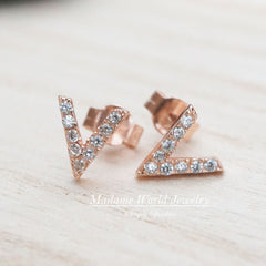 Clear Cubic Zirconia Small V Stud Earrings