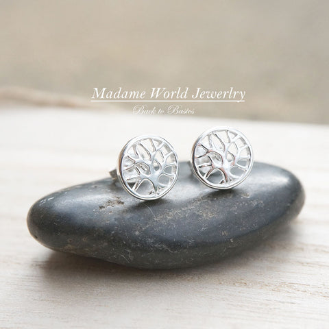 Plain Tree of Life Stud Earrings