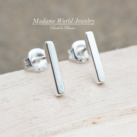 Plain Bar Stud Earrings