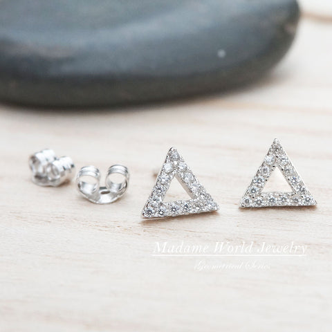 Clear Cubic Zirconia Triangle/Circle Stud Earrings