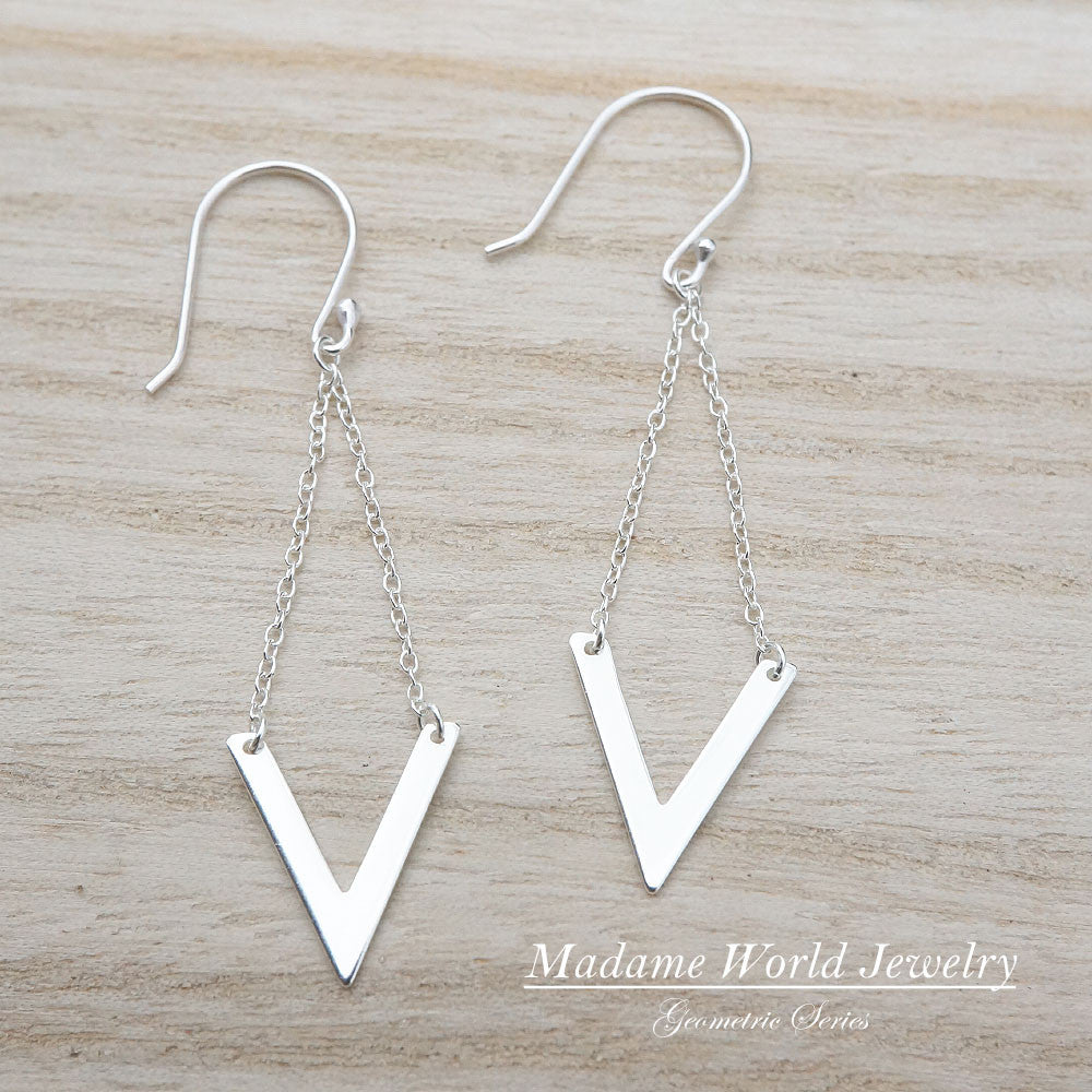 Sterling Silver Chevron Dangling Earrings