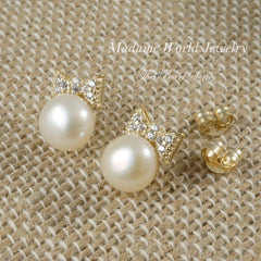 Pave CZ Bow Freshwater Pearl Stud Earrings